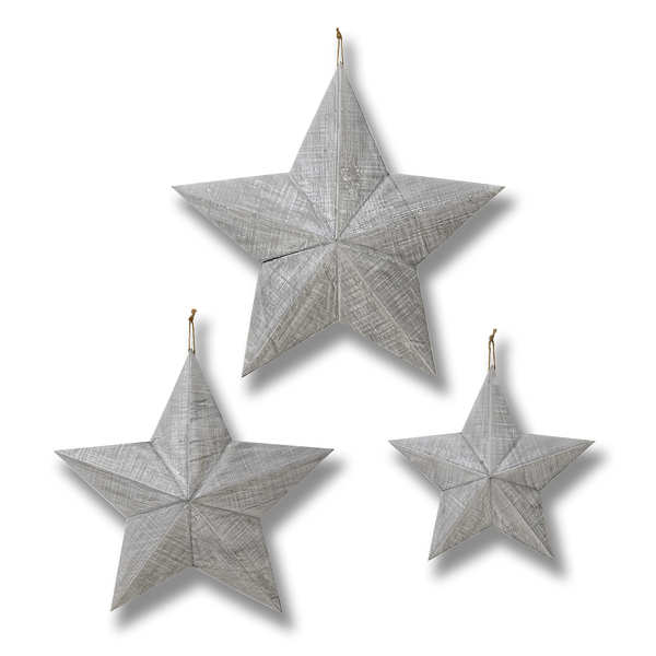 Set of Three Grey Wooden Stars