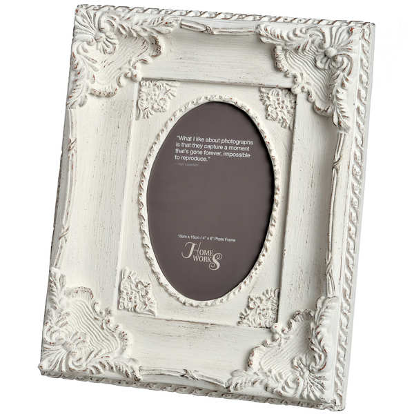 4x6 Ornate Antique White Oval Photo Frame