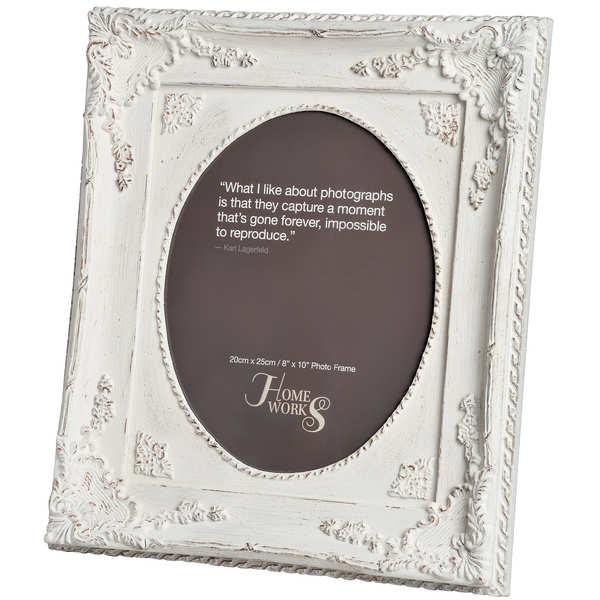 8''x10'' Ornate Antique White Oval Photo Frame