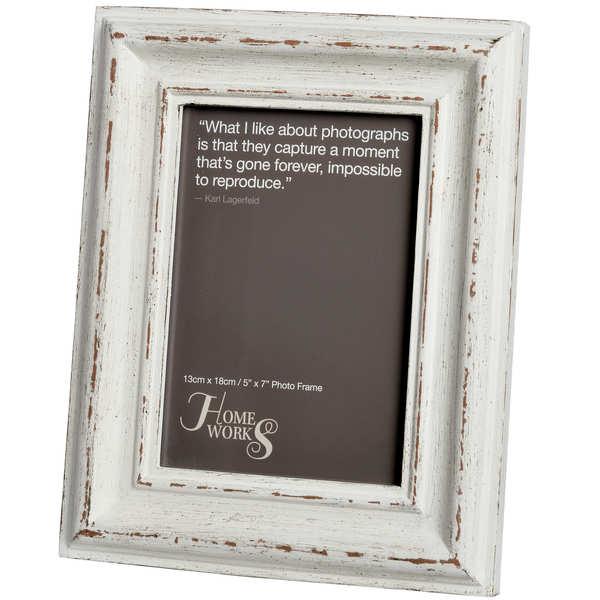 5x7 Distressed White Antique Photo Frame