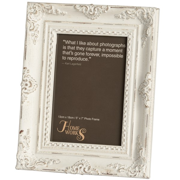 5x7 Antique White Gilded Photo Frame