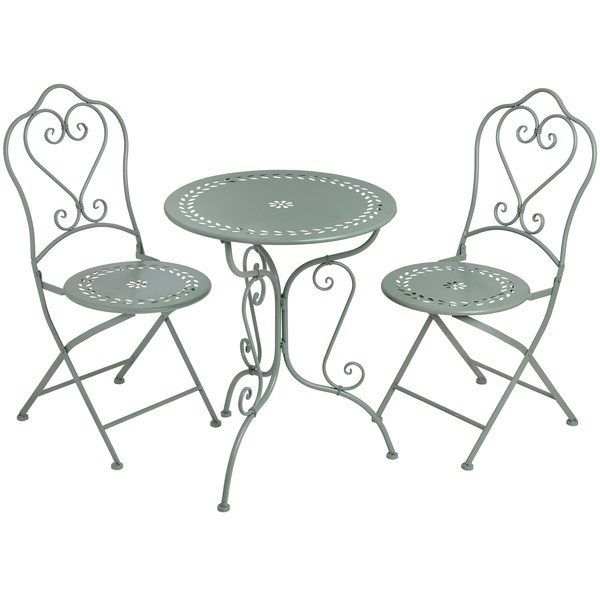 Duck Egg Blue Iron Bistro Table and Two Chairs