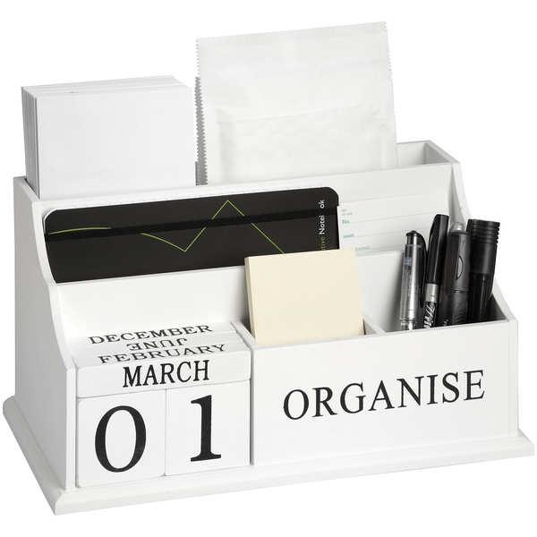 """White """"Organise"""" desktop organiser"""