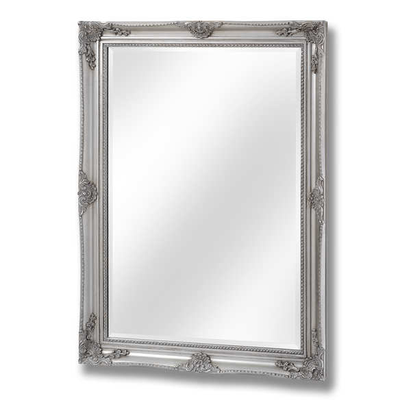Antique Silver Baroque Style Mirror