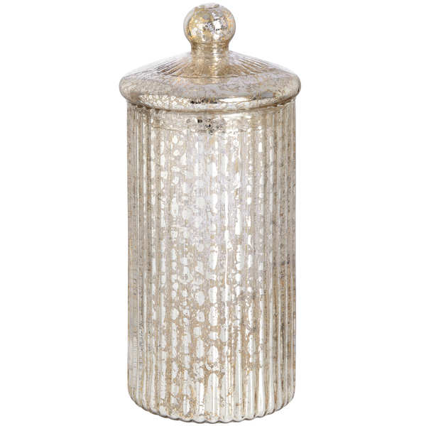 Tall Round Gold Glass Decorative Box