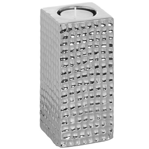 Square Silver Ceramic Tea Light Holder - Medium