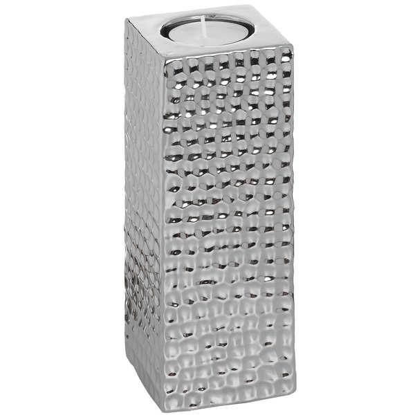 Square Silver Ceramic Tea Light Holder - Large
