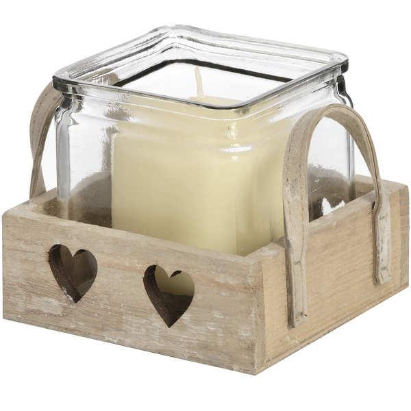 Wooden Heart Design Tea Light Holder