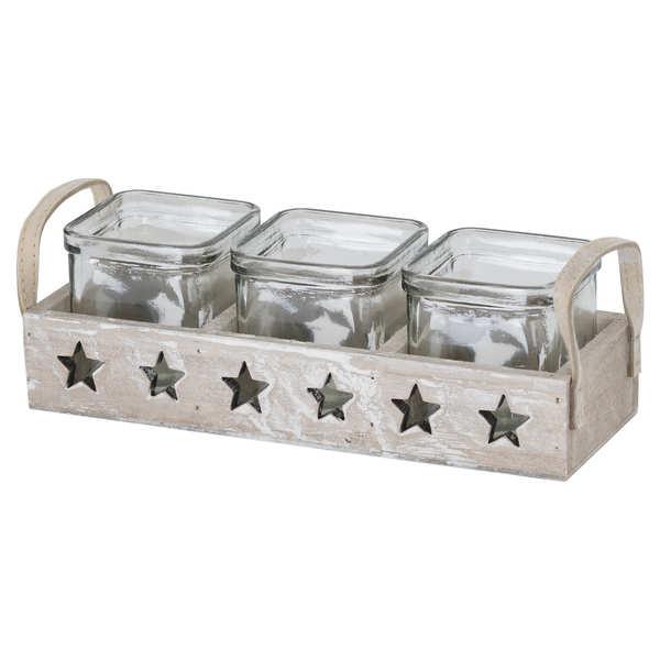 Wooden Stars Design Tea Light Holder