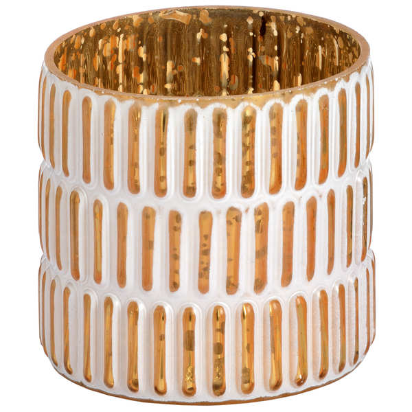 Small gold and white patterned tea light holder