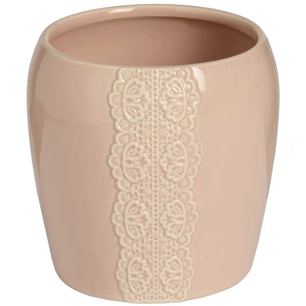 Ceramic Lace Detail Candle Holder In Peach