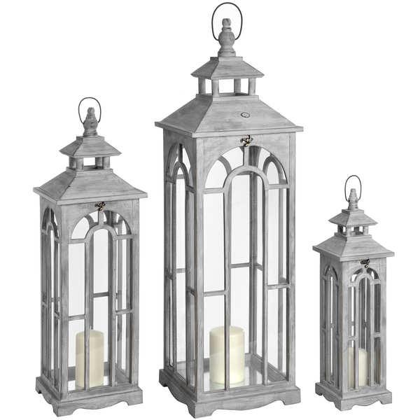 Set Of Three Wooden Lanterns With Archway Design