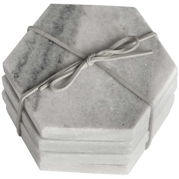 Grey Marble Hexagonal Coasters
