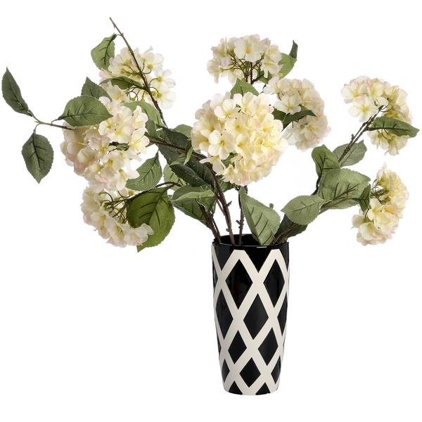 Large Black And White Contemporary Lattice Vase