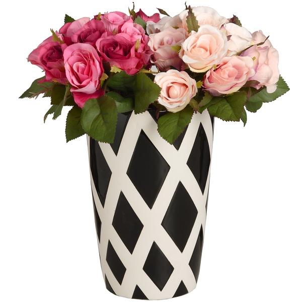 Medium Black And White Contemporary Lattice Vase
