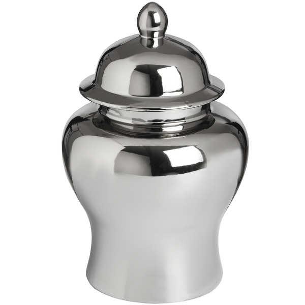 Small Silver Ceramic Urn