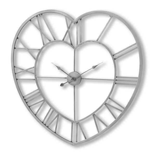 Silver Heart Skeleton Wall Clock