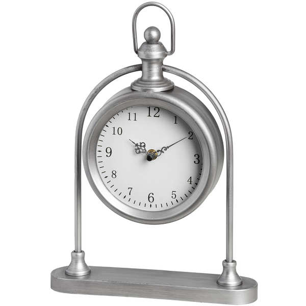 Silver Round Pocket Watch Style Mantel Clock