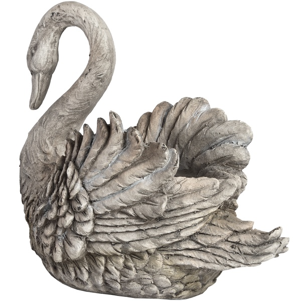 Antique White Resin Swan Planter From Hill Interiors