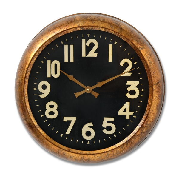 Deep Rim Gold Leaf Clock