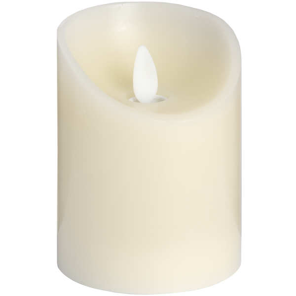 3 x 4 Cream Flickering Flame LED Wax Candle