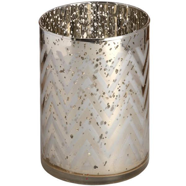 Gold Glass Chevron Tealight Holder in Speckle Effect