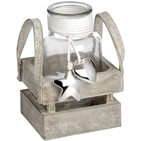 Glass Display Jar with Silver Heart and Star Detail