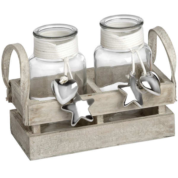 Set of Two Display Jars with Silver Heart and Star Detailing