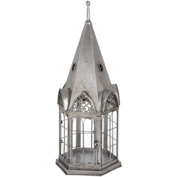 Antique Silver Lantern With Steeple Roof