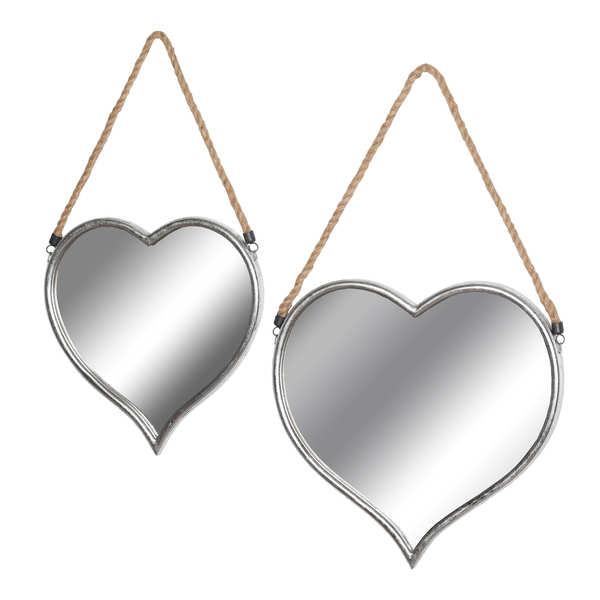 Set Of Two Heart Mirrors With Rope Detail