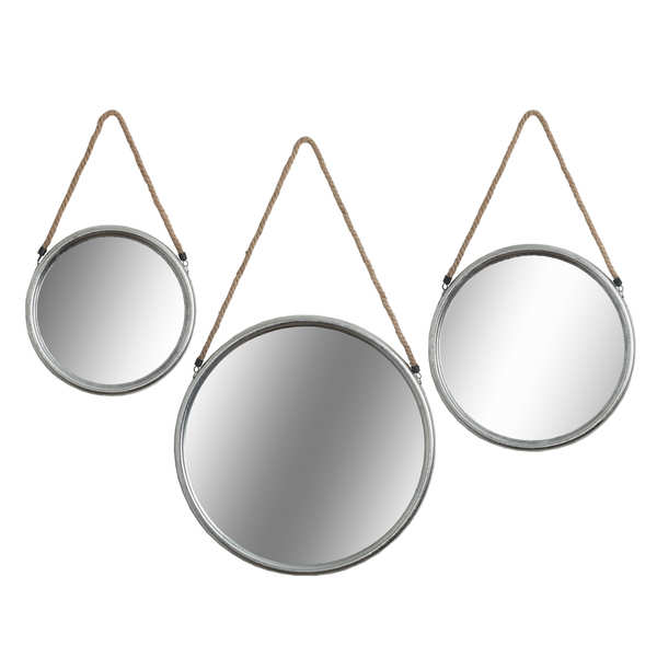 Set Of Three Round Silver Mirrors With Rope Hanger
