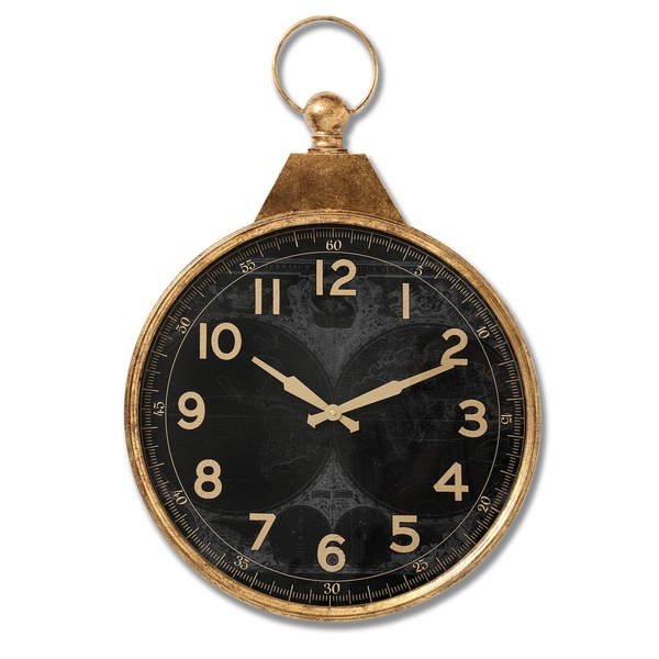 Black And Gold Pocket Watch Clock