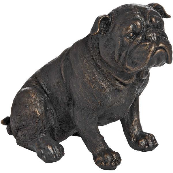 Sitting British Bulldog In Antique Bronze