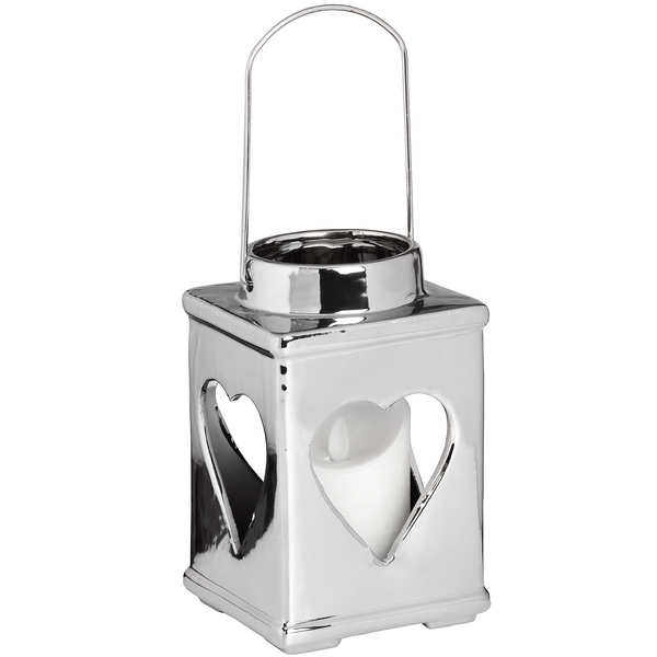 Silver Ceramic Heart Candle Holder with Handle