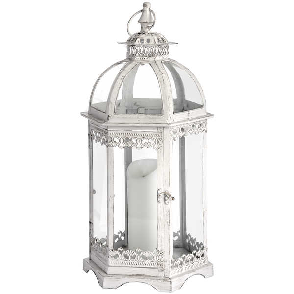 Antique White Hexaganol Glazed Lantern