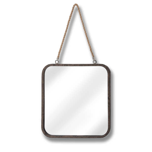 Square Industrial Mirror with Rope Hanger