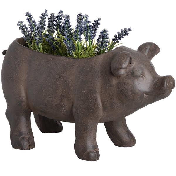 Rustic Pig Planter
