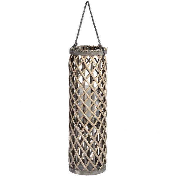 Medium Wicker Lantern with Glass Hurricane