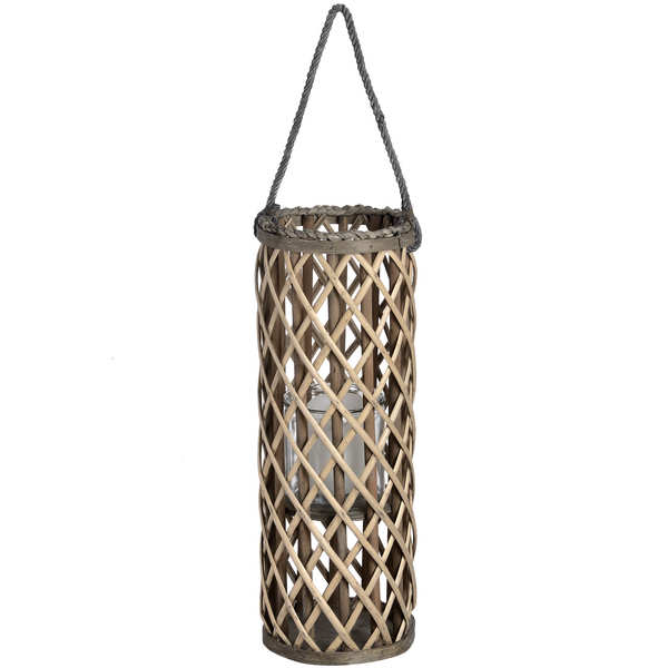 Small Wicker Lantern with Glass Hurricane
