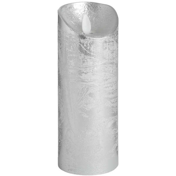 Luxe Collection 3 x 8 Silver Flickering Flame LED Wax Candle