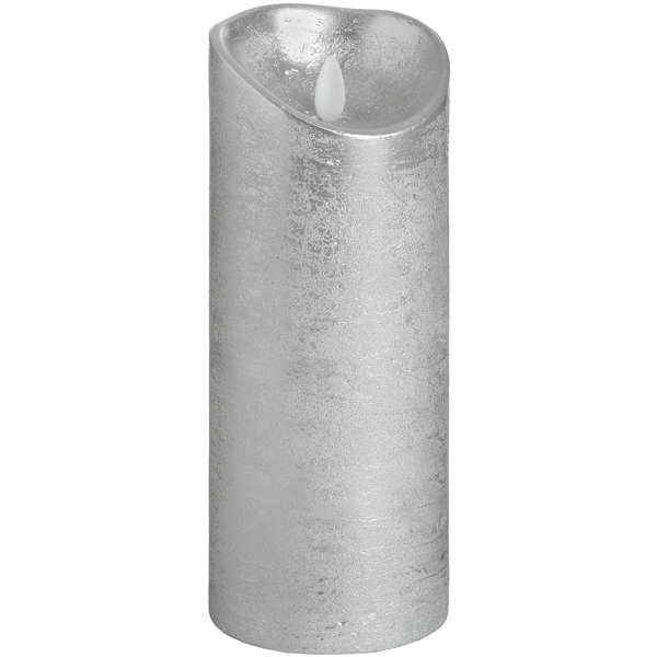 Luxe Collection 3.5 x 9 Silver Flicker Flame LED Wax Candle