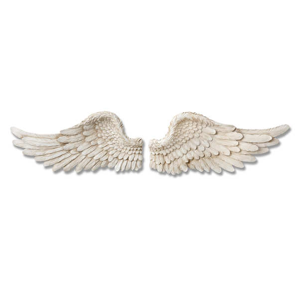 Set of Two Antique White Angel Wings