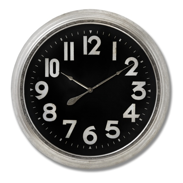 Large Silver Foil Detailed Clock