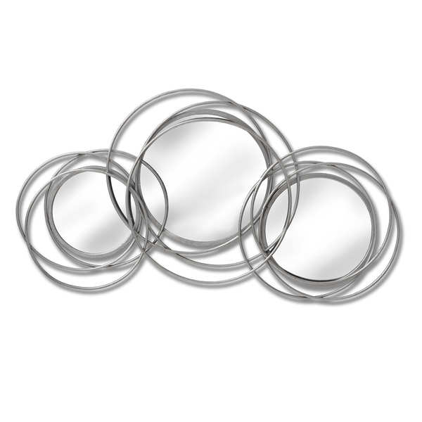 Silver Trio Multi Circled Wall Art Mirror