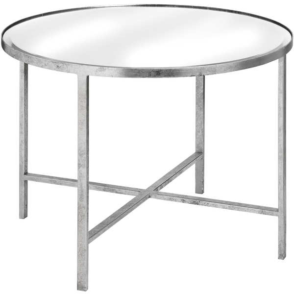 Large Mirrored Silver Side Table With Cross Detail