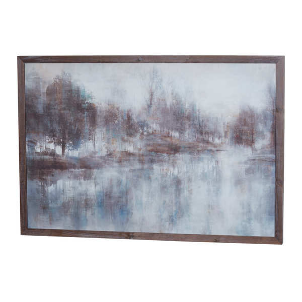 Woodland Reflection Painting On Cement With Wooden Frame