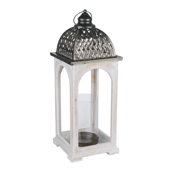 Large Domed Lattice Detailed Antique White Lantern