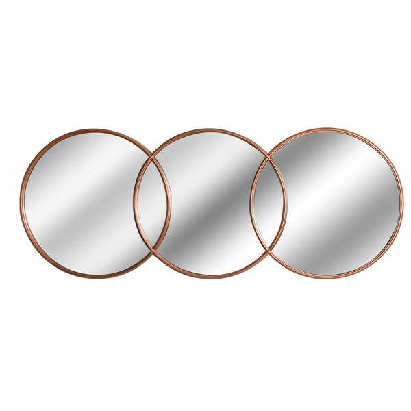 Copper Effect Triple Hanging Round Mirror