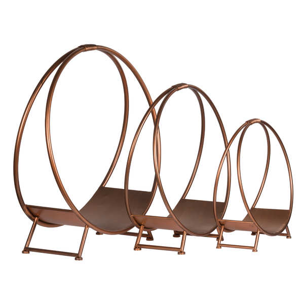 Set Of Three Copper Finished Round Log Display Holders