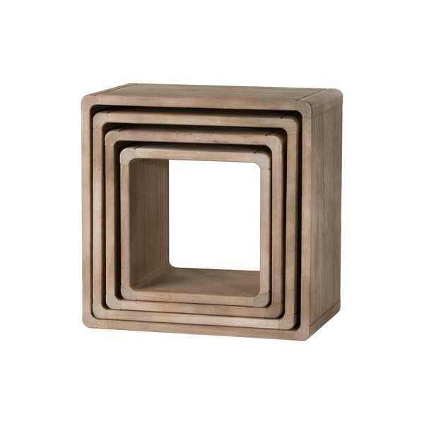 Set Of 4 Wooden Hanging Display Cubes